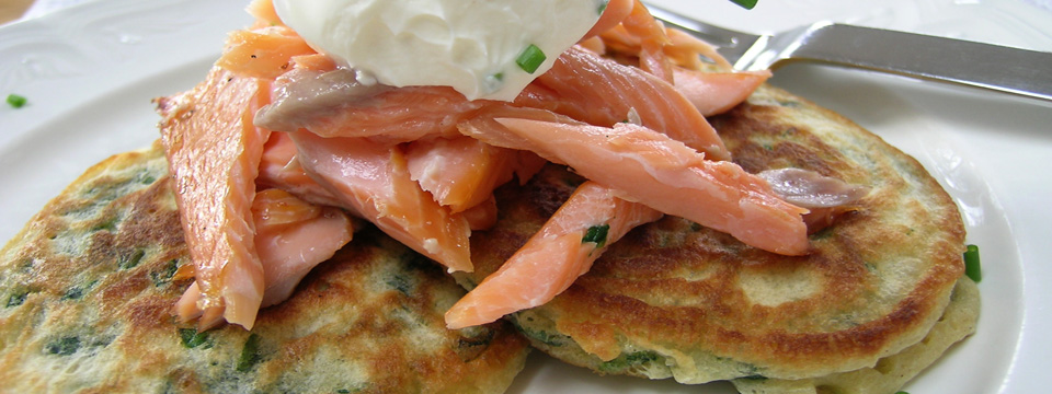 Hot Smoked Trout with Spinach Pancakes & Horseradish Crème Fraiche