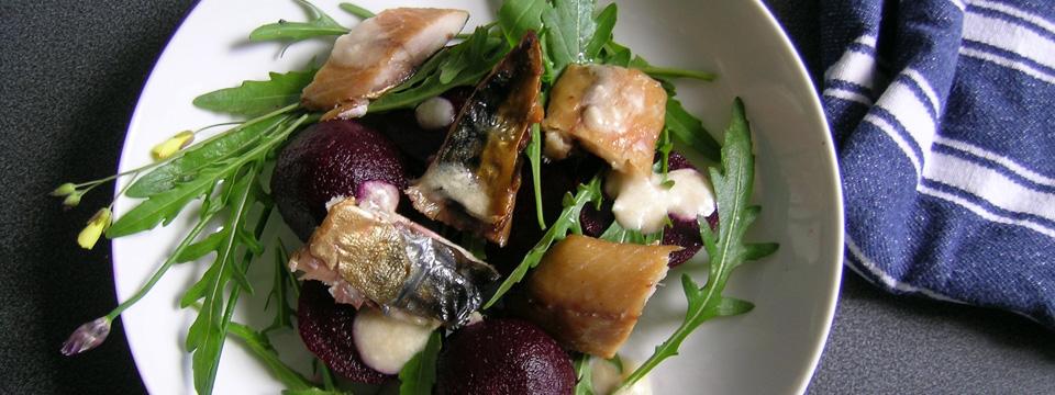 Warm Salad of Smoked Mackerel & Baby Beetroot with Dijon Mustard & Horseradish Dressing