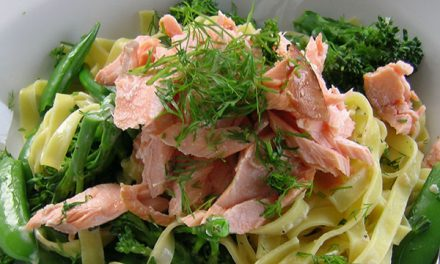 Hot Smoked Salmon with Dill, Horseradish & Spring Vegetable Pasta